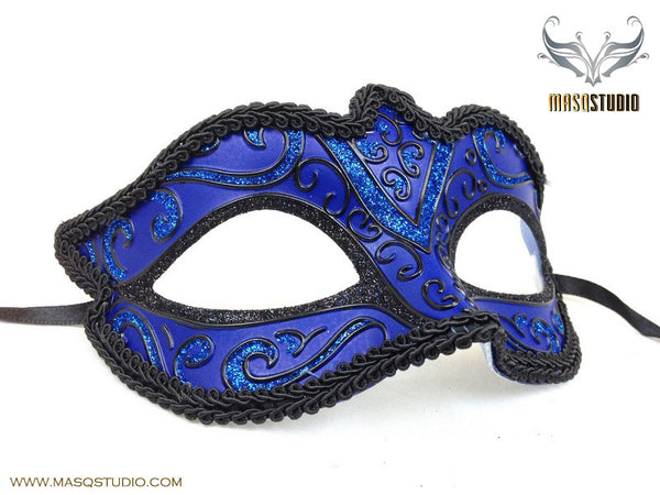 Venetian style Masquerade Eye Mask Royal Blue