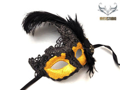 Venetian style side Feather Brocade Black Gold Lace Masquerade Ball Mask