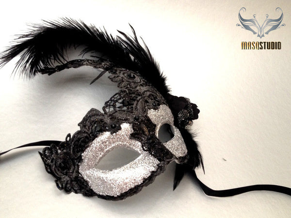Venetian style side Feather Brocade Black Silver Lace Masquerade Ball Mask