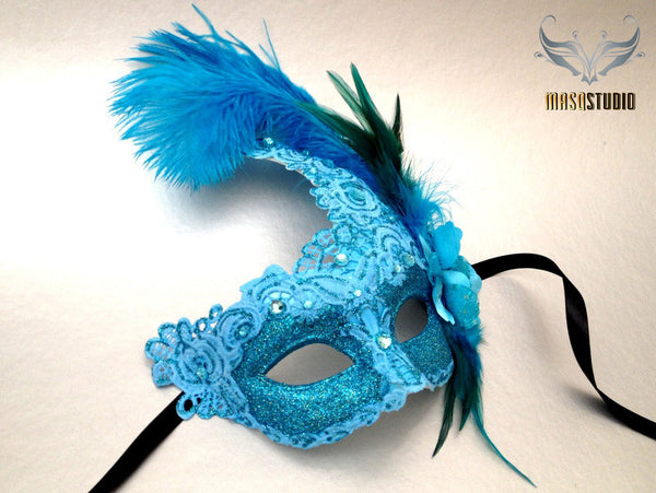 Venetian style side Feather Brocade Turquoise Lace Masquerade Ball Mask