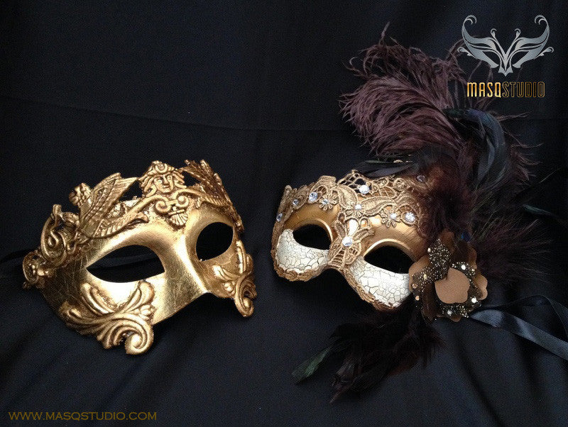 Couple masquerade mask Brocade lace Gold Roman Gladiator Thor mask