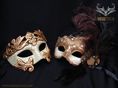 Couple Brocade lace vs Roman Gladiator Thor mask