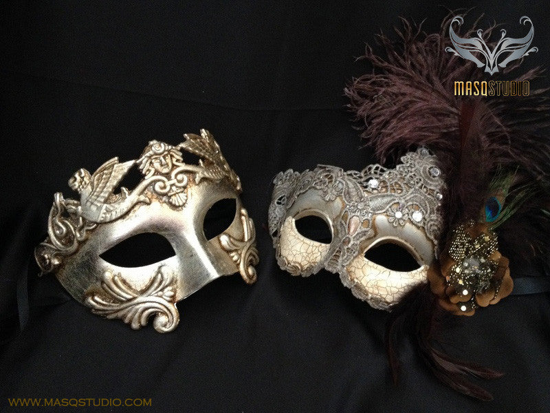 Couple masquerade mask Brocade lace Silver Roman Gladiator Thor mask