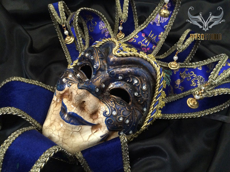 Jolly Jester full face masquerade mask in blue