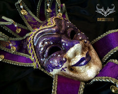 Jolly Jester full face masquerade mask in purple