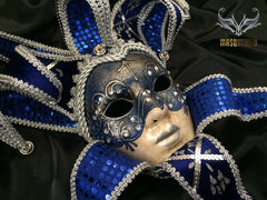 Jolly Jester full face masquerade mask in blue with sequins