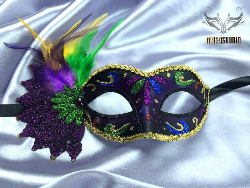 Luxury Metal Laser Cut Masquerade mask in purple, black and gold