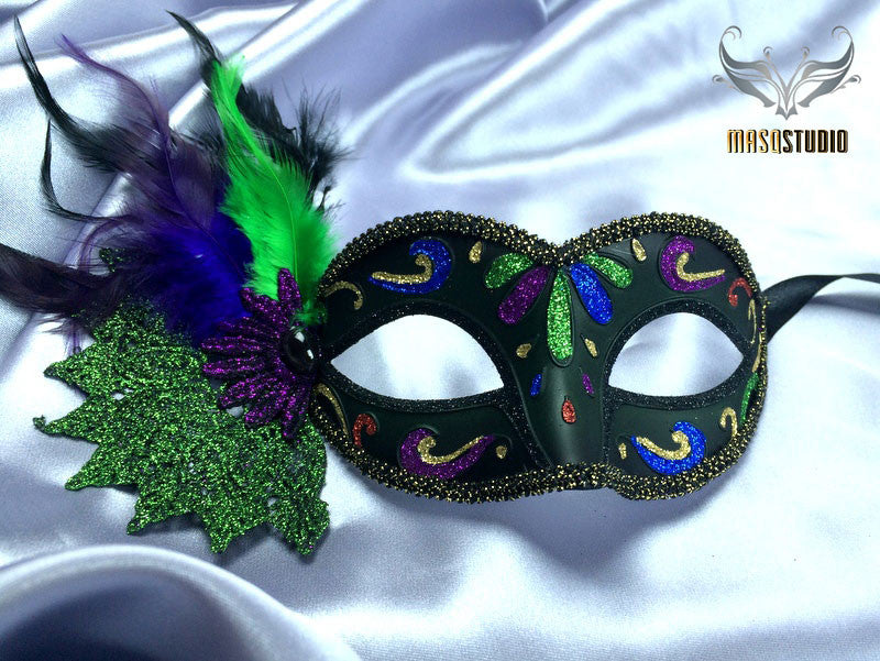 Luxury Metal Laser Cut Masquerade mask in green and black