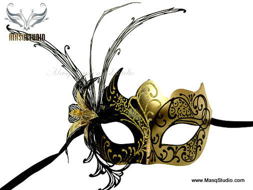 Luxury Ventian Lily Metal Laser Cut Mask - Black Gold