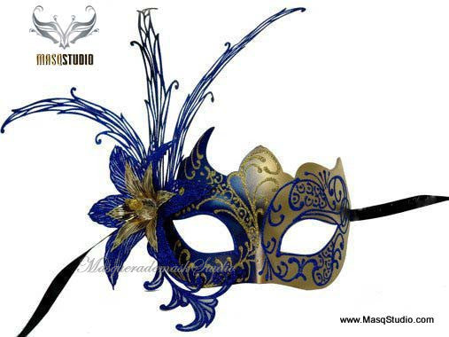 Luxury Venetian Lily Metal Laser Cut Mask - Royal Blue