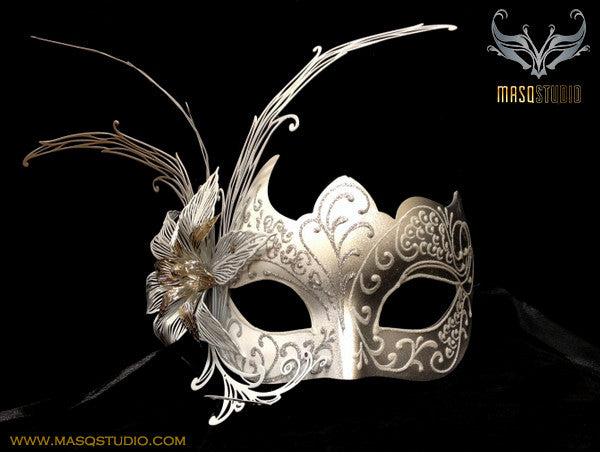 Luxury Ventian Lily Metal Laser Cut Mask - White Silver