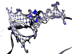Metal half Black phantom mask blue crystals