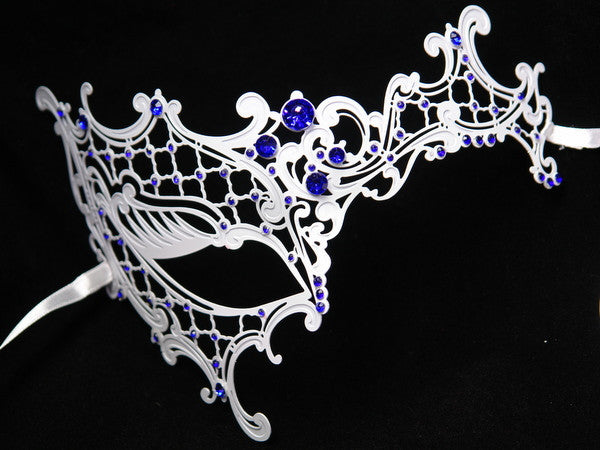 Metal half white phantom mask Blue Crystals