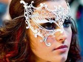 Metal half white phantom mask Emerald green crystals