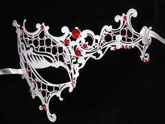 Metal half white phantom mask Red Crystals