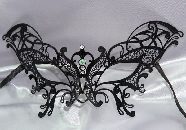 Metal laser cut Black butterfly mask