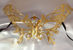 Metal laser cut Gold butterfly mask