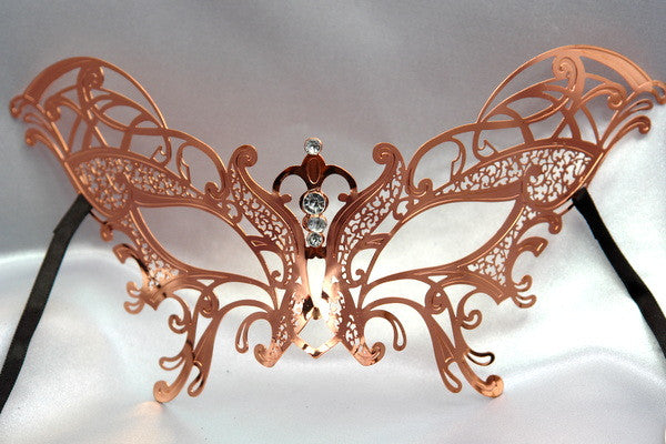 Metal laser cut Rose Gold butterfly mask