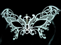 Metal laser cut White butterfly mask