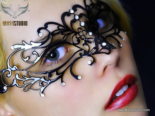 Filigree Black metal laser cut masquerade mask Olivia