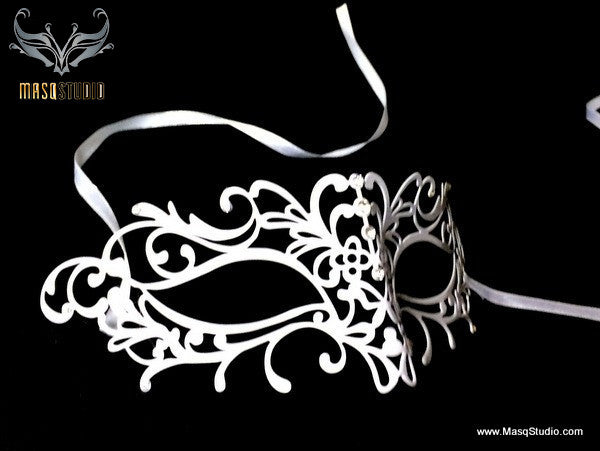 Filigree White metal laser cut masquerade mask Olivia