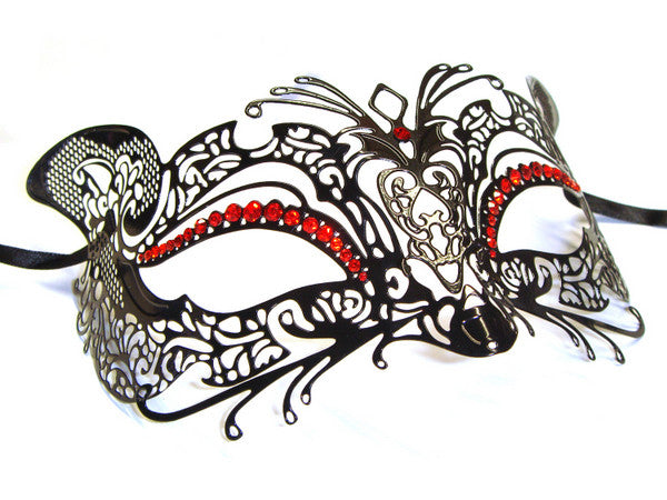Filigree metal kitty black red cat mask