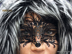 Filigree metal kitty black cat mask