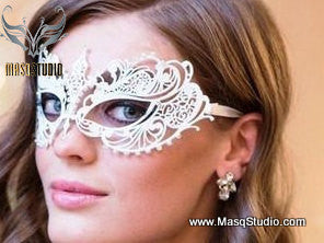 Filigree metal laser cut White masquerade mask Chloe