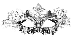 Filigree metal laser cut masquerade mask Princess Silver Black