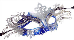 Filigree metal laser cut masquerade mask Princess Silver Royal Blue