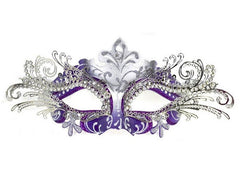 Filigree metal laser cut masquerade mask Princess Silver Purple