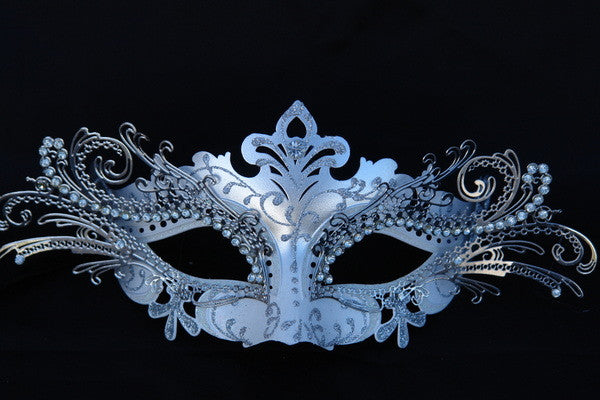 Filigree metal laser cut masquerade mask Princess Silver White