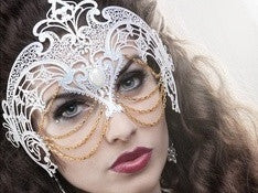 Filigree metal laser cut exotic chained masquerade mask