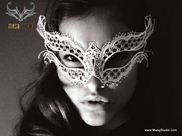 Filigree metal White Vampire Diaries Mask
