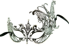 Filigree Black metal Venetian masquerade mask Donna