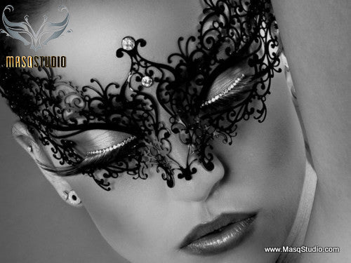 Filigree metal Venetian Black masquerade mask Ava