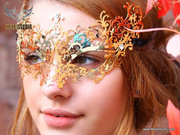 Filigree metal Venetian Gold masquerade mask Ava