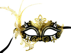 Venetian Lily Metal Laser Cut Mask Black Gold