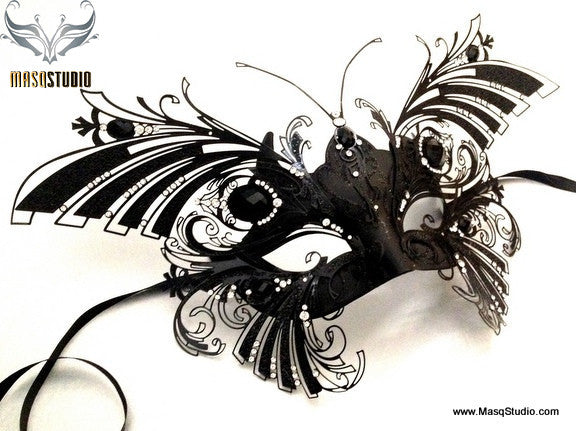 Luxury Venetian laser cut Butterfly Masquerade Mask NEW Black