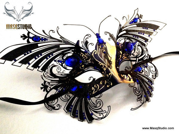 Luxury Venetian laser cut Butterfly Masquerade Mask NEW Dark Sapphire Blue