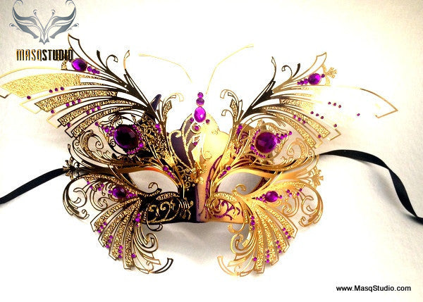 Luxury Venetian laser cut Butterfly Masquerade Mask NEW Purple