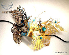Luxury Venetian laser cut Butterfly Masquerade Mask Brand NEW Turquoise Gold