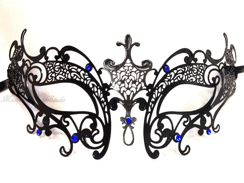 Filigree metal Venetian masquerade mask black butterfly Amelia