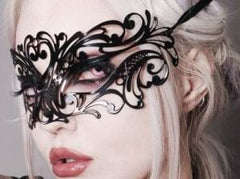 Filigree metal Venetian masquerade black mask Alexis