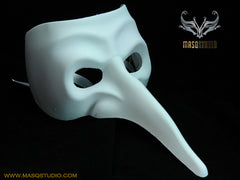 Blank White Doctor Nose Masquerade Mask Man