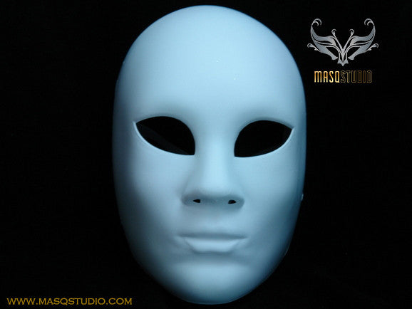 Blank White Full Face Masquerade Mask Woman