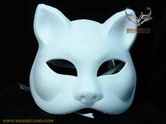 Blank White Full Face Masquerade Mask Animal Kitty Cat