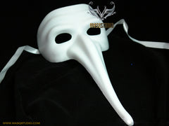 Blank White Doctor Long Nose Masquerade Mask Man