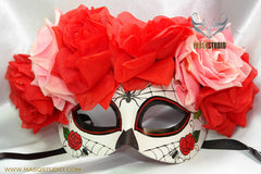 Day of the Dead El Dia de los Muertos Females half face flower mask A