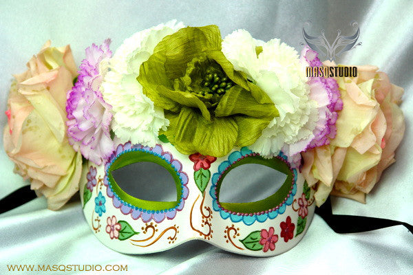 Day of the Dead El Dia de los Muertos Females half face flower mask B